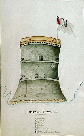 A Martello Tower of the type attacked by Commodore Linzee in 1793