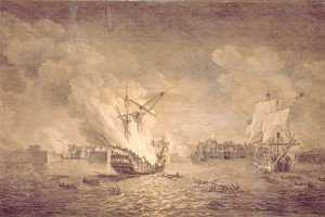 British_burninng_warship_Prudent_and_capturing_Bienfaisant._Siege_of_Louisbourg_1758._Maritime_Museum_of_the_Atlantic,_M55.7.1