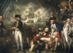 Hamond is seen as a midshipman, on  the extreme right of this painting, at the Battle of the Glorious first of June.