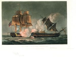 The action between the Sybille and the forte in which Captain Cooke lost his life.